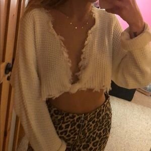 cropped front tie sweater